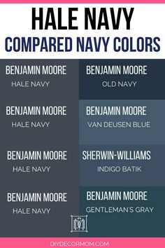 Looking for inspiration for painting a room Benjamin Moore Hale Navy? This post shows BM Hale Navy in a variety of rooms and light conditions so you can see what it really looks like plus how it compares to other navy blue paint colors! Navy Paint Colors, Office Paint Colors, Exterior Paint Colors For House, Bedroom Paint Colors, Paint Colors For Home, Exterior Colors, Paint Colors For Cabinets, Nautical Paint Colors, Navy House Exterior
