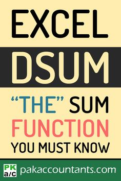 Know about one of the least known sum functions and learn three tricks with DSUM function in this formula guide. Free Excel tips, tricks, tutorials, dashboard templates, formula core book and cheat sheets Computer Lessons, Computer Help, Computer Programming, Computer Tips, Microsoft Excel Formulas, Microsoft Word, Microsoft Windows, Excel For Beginners, Excel Hacks