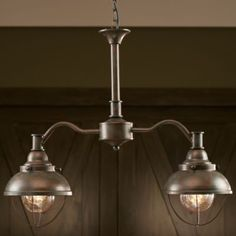 """Inspired by maritime port lighting, this Two-Light Islander will look great in any room of your home or cabin.  Measures:  27-1/2""""L x 8""""W x 22-1/2""""H.  Available:  Weathered Copper, Espresso."""
