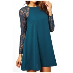 Lace Insert Round Neck Long Sleeve Chiffon Dress ($22) ❤ liked on Polyvore featuring dresses, long sleeve dress, long sleeve chiffon dress, lace inset dress, blue chiffon dress and lace insert dress