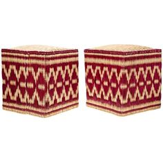 Pair of Moroccan Wicker Stools with Red Decorations ($550) ❤ liked on Polyvore featuring home, furniture, stools, hand made furniture, bright red stool, wicker furniture, moroccan style furniture and red stool