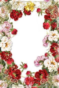 Transparent Gold PNG Frame with Flowers