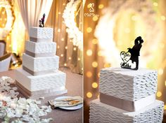 Dallas Ismaili Wedding at the magnificent Frontier Flight Museum. White wedding cake with four tiers and couple kissing topper. Wedding Photography by MnMfoto. Decor by Prashe.