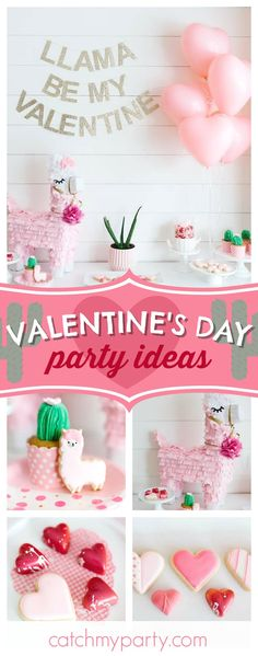Llama Be My Valentine? Don't miss this adorable Valentine's Day party! The llama cookies and cactus cupcakes are so cool!! See more party ideas and share yours at CatchMyParty.com