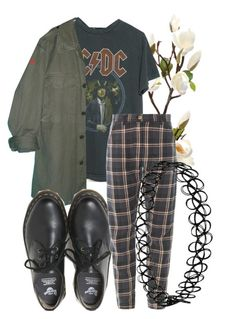 """tell me where did you sleep last night"" by qimmig on Polyvore featuring AC/DC and Dr. Martens"