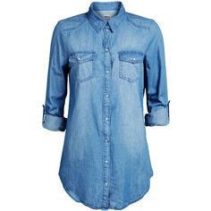 ONLY Denim Shirt (125 BRL) ❤ liked on Polyvore featuring tops, shirts, blouses, denim, camisas, blue long sleeve shirt, denim top, oversized shirt, long denim shirt and snap shirt