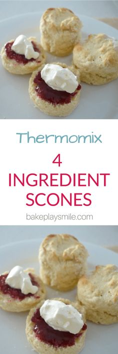 I've been making these four ingredient scones for a few years now and while it's always been quick and easy to put together, using a Thermomix makes it dangerously easy to have a batch of these little beauties in the oven in no time at all. Thermomix Scones, Thermomix Desserts, Thermomix Recipes Healthy, Sweet Recipes, Cake Recipes, Dessert Recipes, Recipes Dinner, Yummy Recipes, Dinner Ideas