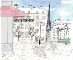 Paris by Kanako Paris Nice, Paris 3, Beautiful Paris, Illustration Paris, French Illustration, Watercolor Illustration, Christmas Arts And Crafts, Little Paris, Sketch Inspiration