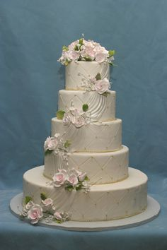 wedding cake with swags www.cheesecakeetc.biz wedding cakes Charlotte NC