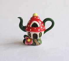 Miniature Fairy Toadstool House Teapot by C. Rohal