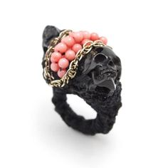Love this! Macrame, beads, chain and skulls! Black and pink =D Never Apart ring with pink coral by Jolita Jewellery