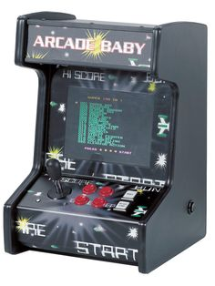How cool...Arcade Baby from Gremlin Solutions is a mini arcade machine with 99 classic games. There's a full size one called Arcade Mania but this is perfect size to hide from my wife. juvenile  high-score names here we come!