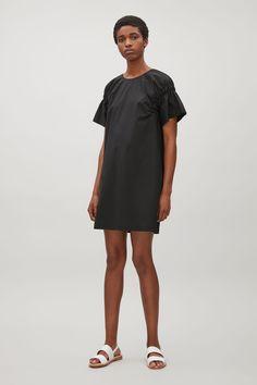 COS image 1 of Dress with elastic shoulder detail in Black £69