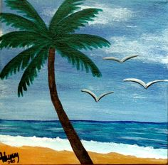 Set of 2 - 1 of 2 - Beach Daytime/Sunset Combo 6x6 canvas. $45.00, via Etsy.