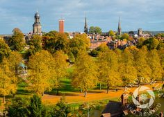 #Shrewsbury in autumn, looking over the River Severn to the Quarry, #Shropshire.