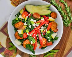 Kale-haters, this salad is for you! Sturdy kale leaves prepared with a mixture of tangy, yet sweet dressing, loaded with in-season veggies, fruit, and feta. Everything but the kitchen sink is in this fall-inspired Mediterranean kale salad. This recipe comes to us from Chelsey of C it Nutritionally. Serves2 For the salad: 1/2 pound