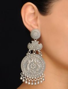 Pair of Peacock Silver Earrings