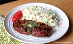 Gourmet Girl Cooks: Grilled Steak w/ Garlic Herb Butter & Easy Coleslaw - Quick & Easy Low Carb