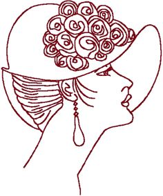 Redwork Flapper in Bowl Hat Embroidery Design