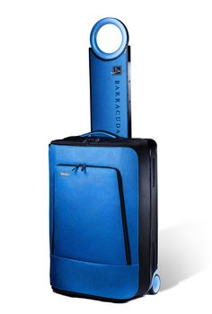 Barracuda collapsible suitcase with pull out table and comes with charger outlet to charge your devices and has optional gps feature to locate ur luggage. Swivel handle is nice too.