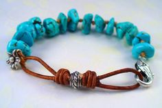 Rustic Knotted Boho Turquoise Blue Howlite by RoEnchantedDesigns, $20.00