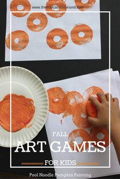 Fall Games for Kids: Roll and Stamp Pumpkin Patch.  Fall Art Game Idea for kids that's easy and budget friendly.
