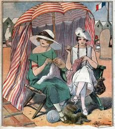 Deco Ladies knitting at the beach (Art Resource ~ Fine Art Stock Licensing)