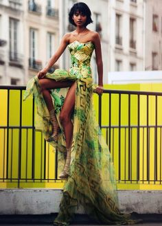 Corset Dress by Atelier Versace- doesn't this look like a peacock?  Awesome.