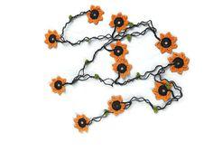 Orange Crochet  Necklace  Crochet Flower Lariat Oya by Nakkashe