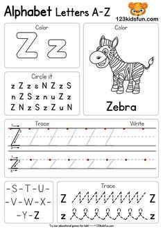 Free Alphabet Practice A-Z Letter Preschool Printable Worksheets to Learn Kids Alphabet Writing Worksheets, Letter Worksheets For Preschool, Preschool Writing, Kindergarten Learning, Preschool Letters, Alphabet Worksheets, Preschool Lessons, Printable Worksheets, Kids Alphabet