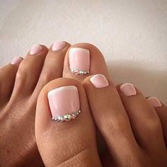 Skinny French Wedding Pedicure Design