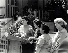Juana Beatríz Gutiérrez and other members of the Mothers of East L.A. at a water conservation press conference, 1992. The Mothers of East Los Angeles (MELA) started in 1985 when a group of women organized to fight a proposal for the construction of a new state prison in their neighborhood. Mothers of East Los Angeles Collection. Latino Cultural Heritage Digital Archives.