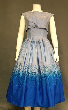 Two Toned Taffeta 1950's Cocktail Dress w/ Embroidery & Topper.