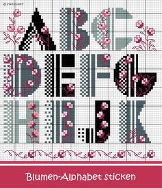 Blumiges Alphabet in Pink-Grau sticken #Sticken #Kreuzstich / #Alphabet; #Embroidery #Crossstitch / #alphabet / #ZWEIGART
