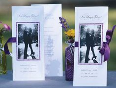 Tell your story with a personalized program. Print your ceremony details on white pearl trifold program paper, add a beloved photo on colored backer paper and finish with your favorite ribbon.