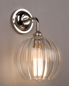 Designer Lighting, CONTEMPORARY WALL LIGHT WITH RIBBED HEREFORD GLASS GLOBE SHADE