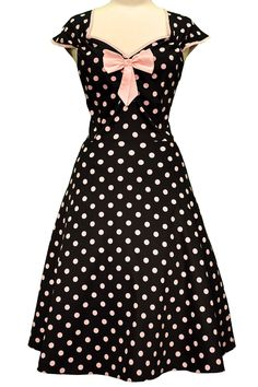 Black & Pink Polka Dot Isabella Dress : Lady Vintage