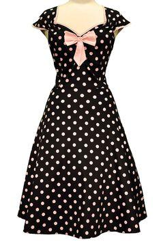 Black & Pink Polka Dot Isabella Dress : Lady Vintage