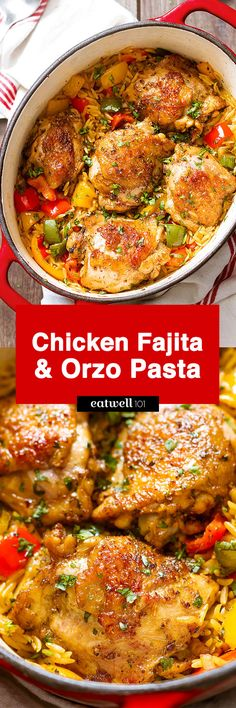 On the table in 30 minutes and made in only one pot, this nourishing fajita chicken and orzo pasta is total comfort food that everyone will love. Chicken thighs with bell peppers and sweet onion ar…