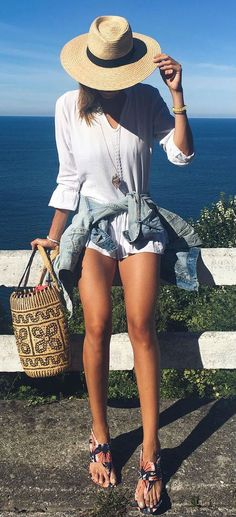 summer street style outfit: hat + top + bag + shirt + shorts