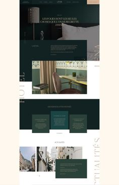 A modern, yet very luxurious, high-end and elegant website that is perfect for any professional business such as real estate or interior design. Classic, traditional branding with dark greens and classic typography.