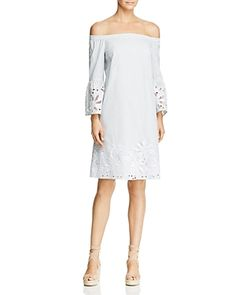 Lafayette 148 New York Palmira Off-the-Shoulder Embroidered Stripe Dress