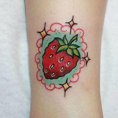 Sweet and Succulent Strawberry Tattoo 1 Sweet Tattoos, Girly Tattoos, Little Tattoos, Pretty Tattoos, Mini Tattoos, Beautiful Tattoos, Black Tattoos, Small Tattoos, Kawaii Tattoos