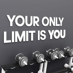 Your only limit is you home gym wall sign training wall Gym Decor, Wall Art Decor, Gym Motivation Quotes, Fitness Motivation, Cnc, Indoor Gym, Liquid Nails, Gamer Room, Black Walls