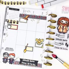 Planning has never been more magical with Wizard Washi and Magical Friends stamps!⚡️✨ • @lizhoshow loves using the cute owl to add a fun touch to her More Tabs boxes. It's really pretty sweet how this all came together.