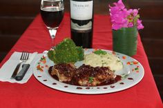 Pork chops in a port wine sauce served with mashed potatoes and broccoli. Paired with Trapiche Oak Cask Malbec. Simpson Bay, St Martin, Port Wine, Wine Sauce, Pork Chops, Restaurant Bar, Broccoli, Mashed Potatoes, Trip Advisor