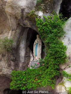 A Lourdes Pilgrimage For the Occasionally Devout Day Tripper Blessed Mother Mary, Blessed Virgin Mary, Grotto Design, Lourdes France, Religious Photos, Our Lady Of Lourdes, Walking Routes, France Travel, Pilgrimage