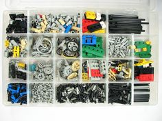 Legos - There are, of course, some small parts that really are better off not built into stacks.  We organize our small Technic pieces in this divided fishing tackle box with a locking lid. Note that as opposed to the set-of-drawers method, this lets you see– and access– everything at once. Evil Mad Scientist Lab.