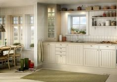 Kitchen colors, light greens, browns, white/country.