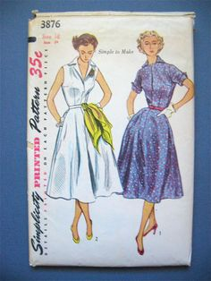 Vintage 1950s sewing pattern 3876 by Simplicity.  by Fancywork